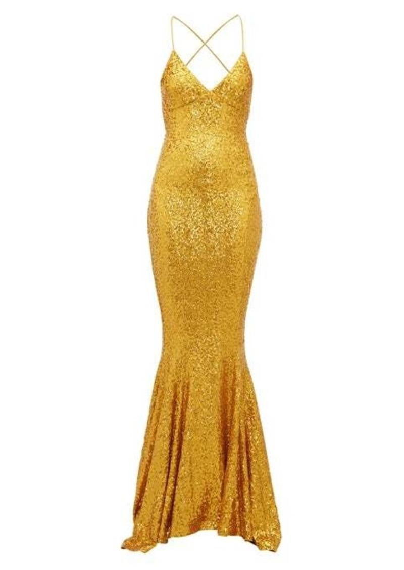 Norma Kamali Fishtail-hem sequinned jersey maxi dress