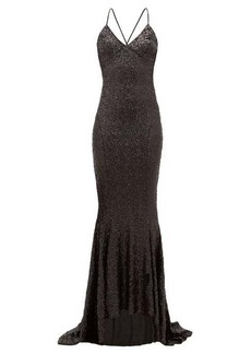 Norma Kamali Fishtail-hem sequinned maxi dress