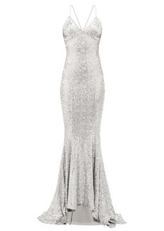 Norma Kamali Fishtail-hem sequinned maxi dress