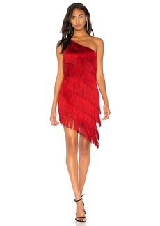 Norma Kamali Fringe One Shoulder Dress