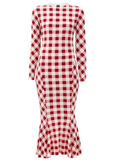 Norma Kamali Gingham-print fluted jersey midi dress