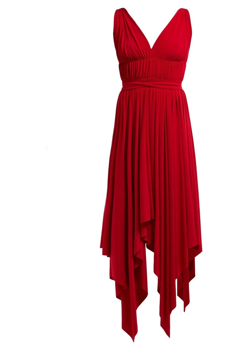 Norma Kamali Goddess handkerchief-hem dress