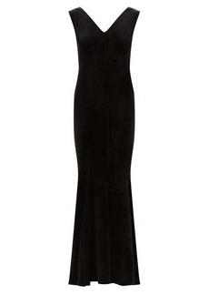 Norma Kamali Grace fishtail-hem velvet dress
