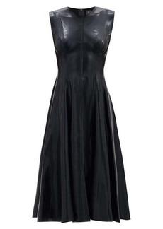 Norma Kamali Grace flared satin dress
