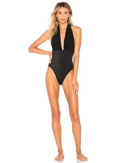 Norma Kamali Halter Low Back One Piece