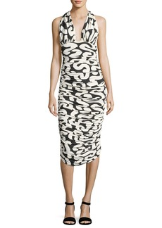 Norma Kamali Halter Printed Ruched Cocktail Dress