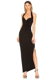 Norma Kamali Halter Sweetheart Side Drape Gown