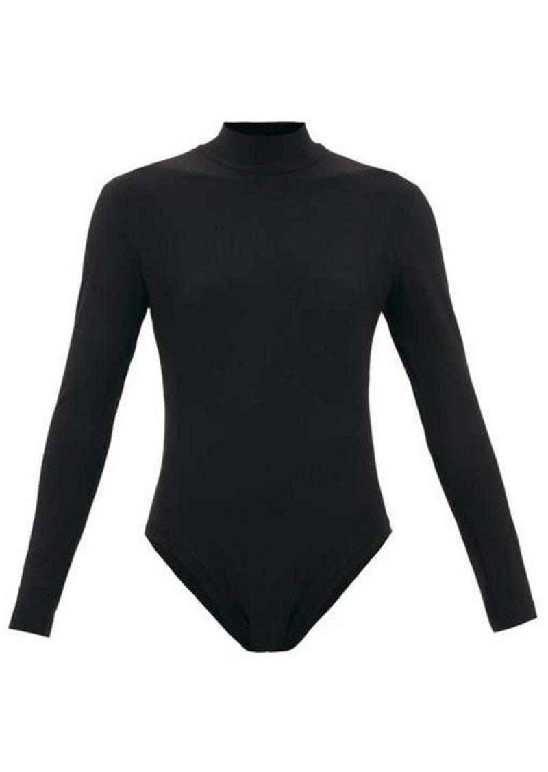 Norma Kamali High-neck open-back jersey bodysuit