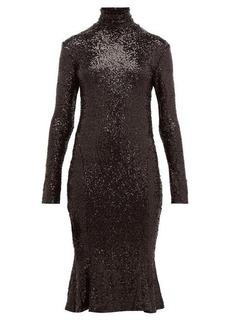 Norma Kamali High-neck sequinned fishtail-hem dress