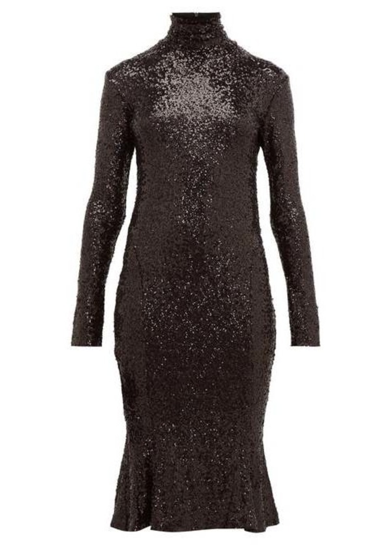 Norma Kamali High-neck sequinned fishtail-hem dress