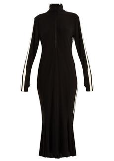 Norma Kamali High-neck side-striped dress