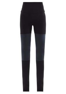 Norma Kamali High-rise bi-colour jersey stirrup leggings