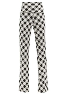 Norma Kamali High-rise gingham stretch-jersey trousers