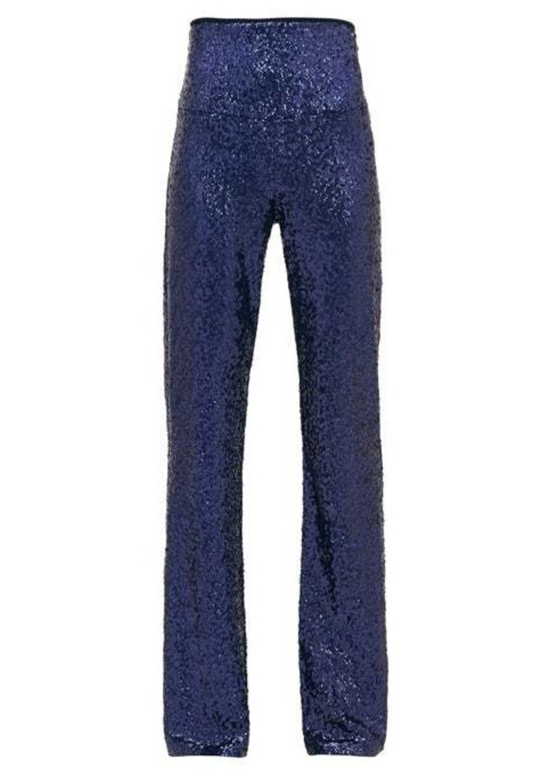 Norma Kamali High-rise sequinned flared trousers