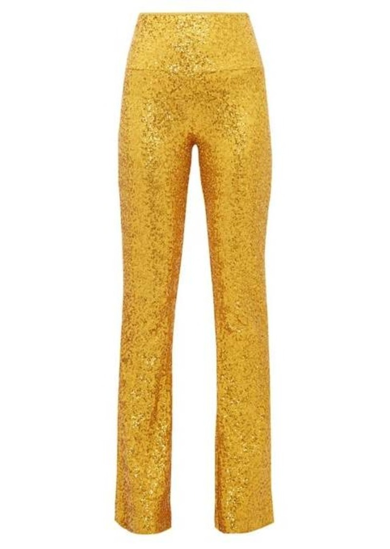 Norma Kamali High-rise sequinned kick-flare trousers