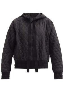Norma Kamali Hooded diamond-quilted shell bomber jacket