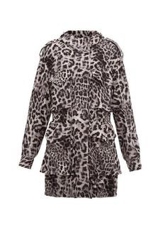 Norma Kamali Hooded leopard-print jersey cargo jacket