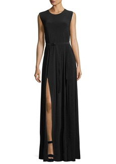 Norma Kamali Jewel-Neck Sleeveless Column High-Slit Jersey Evening Dress