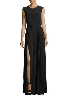 Norma Kamali Jewel-Neck Sleeveless Column High-Slit Jersey Evening Dress