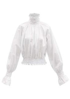 Norma Kamali Lantern-sleeve shirred cotton-poplin top