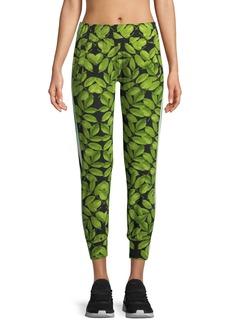 Norma Kamali Leaf-Print Side-Stripe Jogger Pants