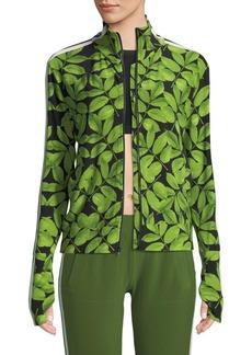 Norma Kamali Leaf-Print Side-Stripe Turtle Athletic Jacket