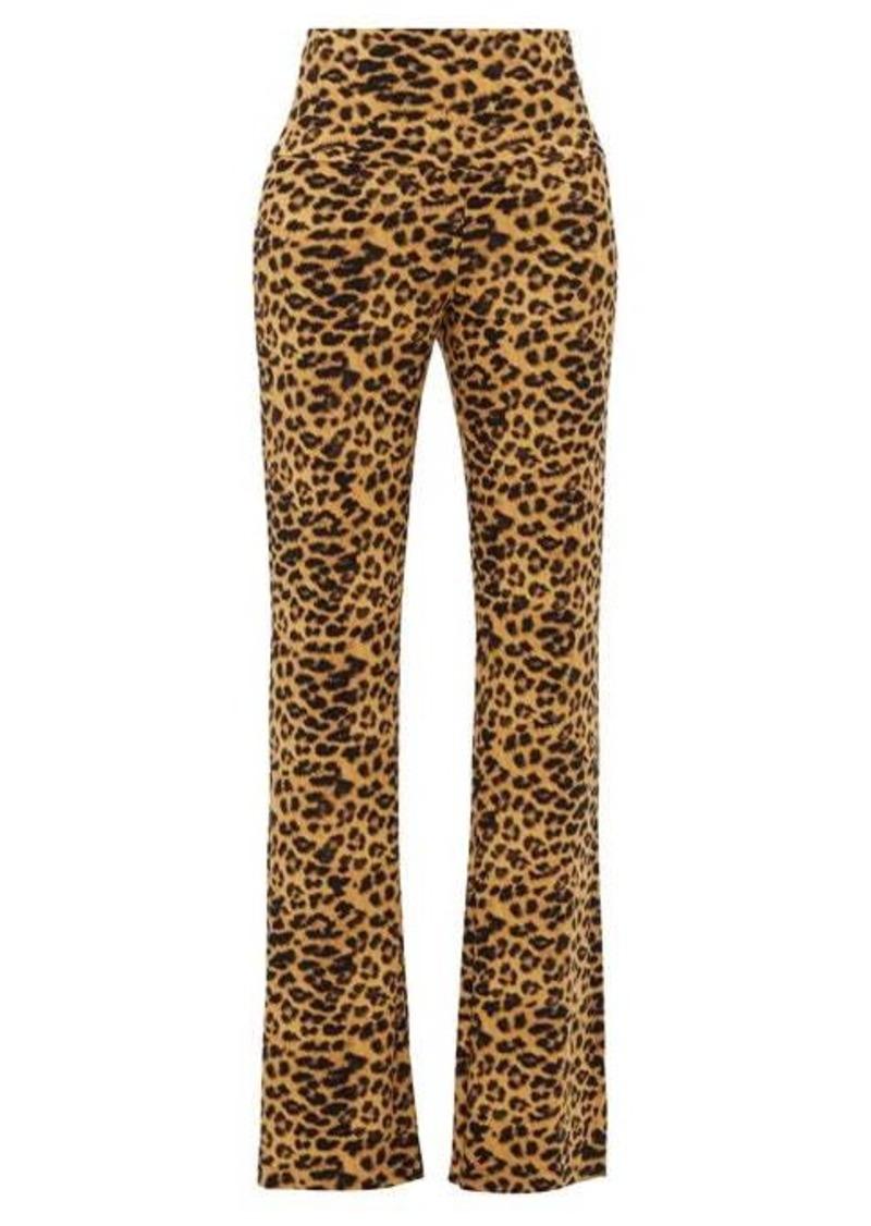 Norma Kamali Leopard-print flared-leg jersey trousers
