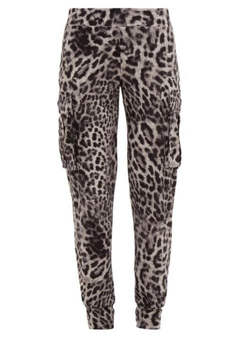 Norma Kamali Leopard-print jersey cargo track pants