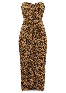 Norma Kamali Leopard-print ruched bandeau jersey midi dress