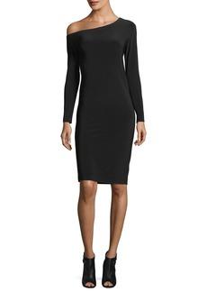Norma Kamali Long-Sleeve Asymmetric-Neck Sheath Dress