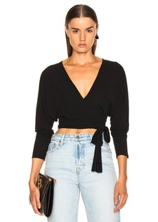 Norma Kamali Long Sleeve Dolman Wrap Top