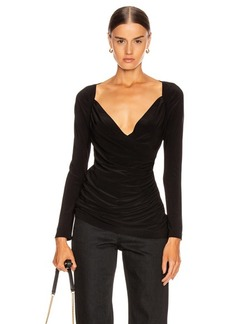 Norma Kamali Long Sleeve Sweetheart Side Drape Top