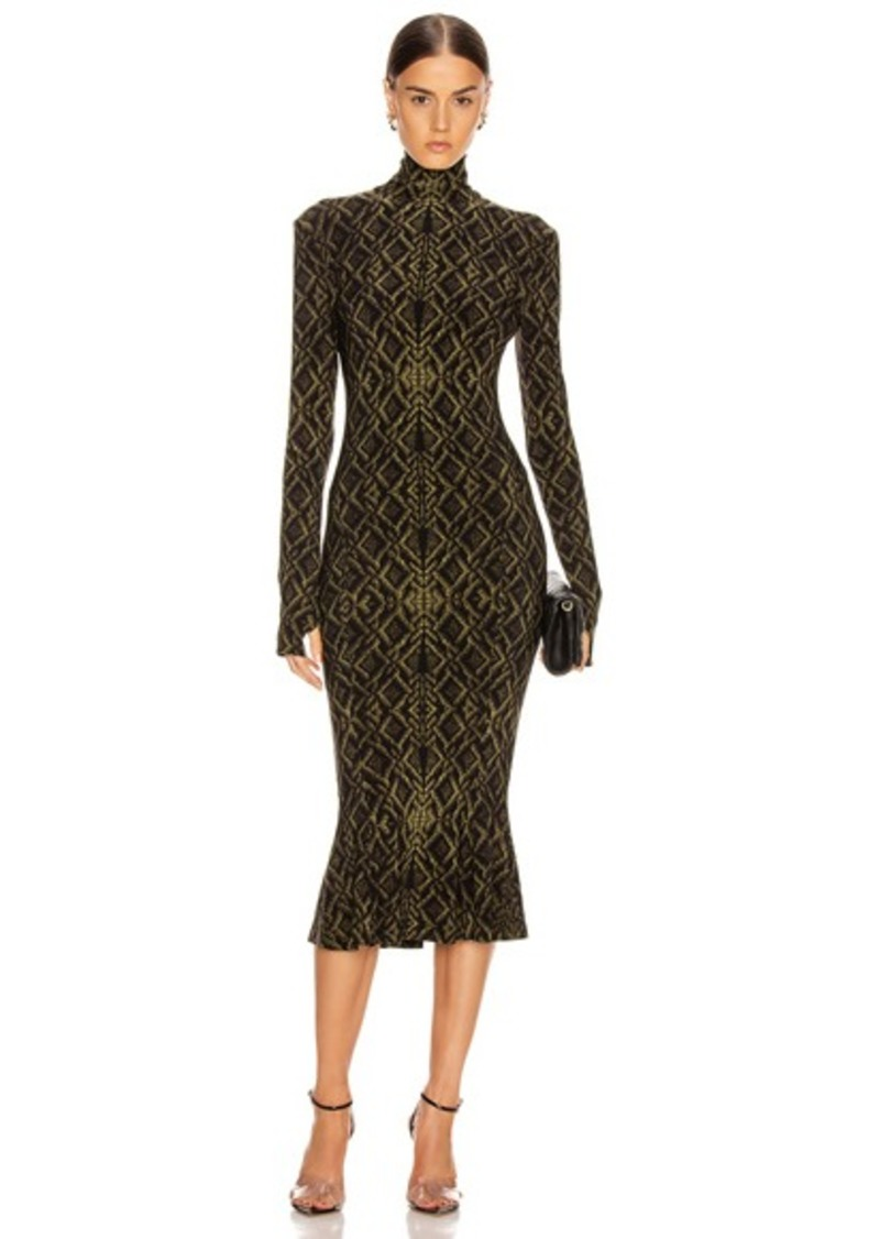 Norma Kamali Long Sleeve Turtleneck Fishtail Dress To Midcalf