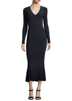 Norma Kamali Long-Sleeve V-Neck Fishtail Midi Cocktail Dress