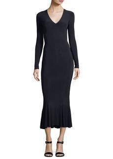 Norma Kamali Long-Sleeve V-Neck Fishtail Midi Cocktail Dress