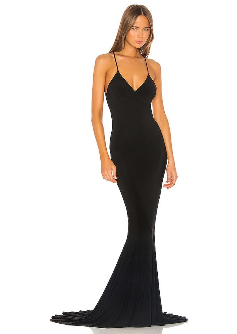 Norma Kamali Low Back Slip Mermaid Fishtail Gown