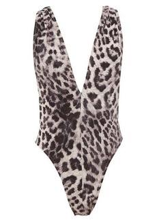 Norma Kamali Marissa leopard-print cross-back swimsuit