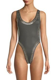 Norma Kamali Marissa Stud One-Piece Swimsuit
