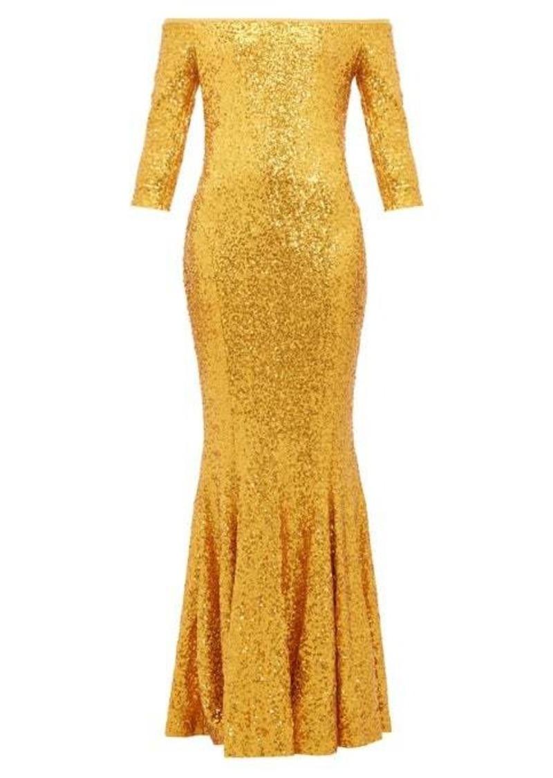 Norma Kamali Mermaid-hem off-the-shoulder sequinned dress