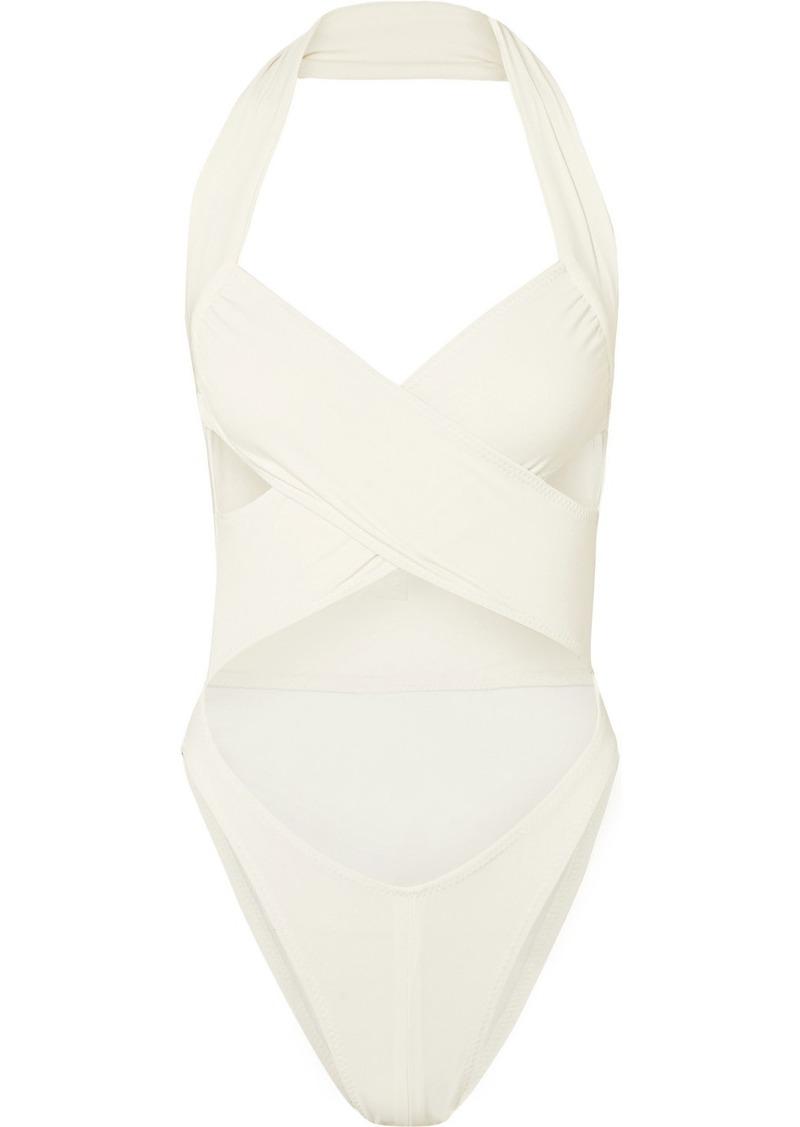 Norma Kamali Mio cutout halterneck swimsuit