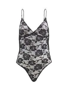 Norma Kamali Mio floral stretch-lace bodysuit