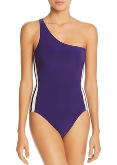 Norma Kamali Mio Side-Stripe One-Shoulder One Piece Swimsuit