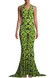 Norma Kamali MJ Racer Fishtail Gown in Leaf Print