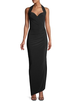 Norma Kamali MJ Sleeveless Halter Gown w/ Draped Side