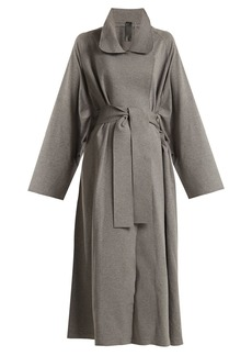 Norma Kamali Notch-lapel cotton-blend jersey coat