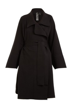 Norma Kamali Notch-lapel cotton-blend jersey coat