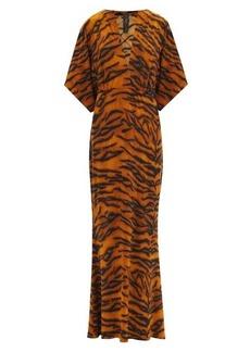 Norma Kamali Obie V-neck tiger-print jersey dress