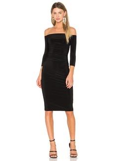 Norma Kamali Off Shoulder Shirred Dress