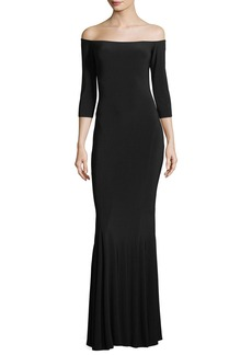 Norma Kamali Off-the-Shoulder 3/4 Sleeves Fishtail Evening Gown