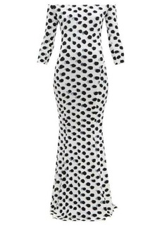 Norma Kamali Off-the-shoulder polka-dot print jersey maxi dress